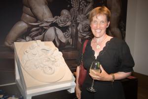 Freya Morris with her winning carving