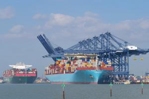 Container ships at Felixstowe