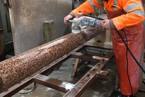 Peterhead pink granite being worked by Fyfe Glenrock