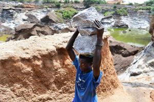 Child labour in a quarry
