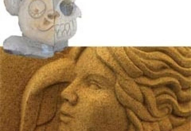The angel carved by Carrie Horwood at Ludlow and, above it, Barry Wrafter's work inspired by Clones' Puppy Skull Carver.