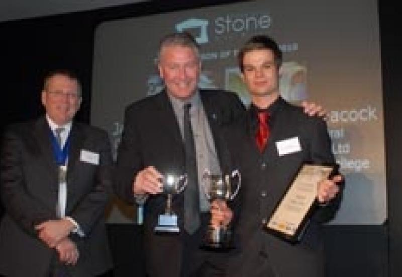 James Elsey receiving his Apprentice of the Year Award from TV builder Tommy Walsh and Stone Federation President David Ellis (left).