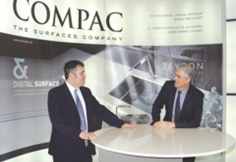 Toni Lleó (left), who heads Compac in the UK, with newly appointed Europe Export Manager Ignacio Gómez-Ferrer on the Compac stand at KBB.