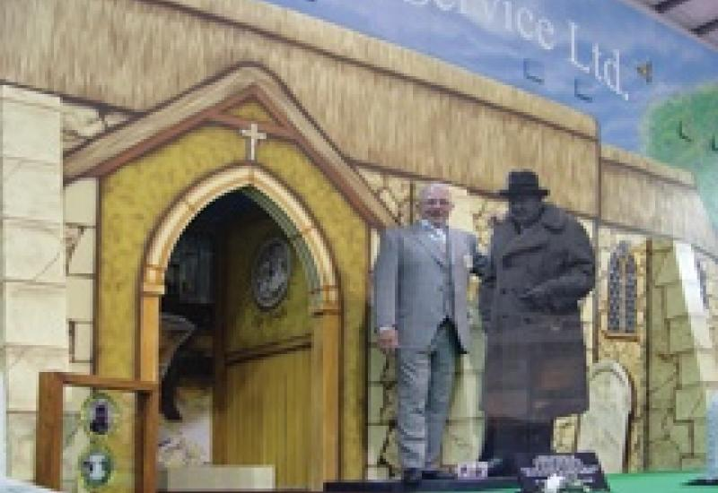 Pictured on his stand at the NFE, Steve Richardson of Memorial Service launched a video showing the work that goes into making memorials.