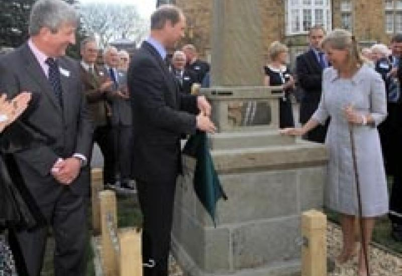 Prince Edward and Sophie of Wessex unveil the restored obelisk at the centre of the Royal Forest of Dean today (7 May). Nick Horton is on the left.