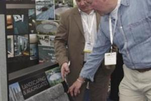 TV builder Tommy Walsh on the Burlington stand at the relaunched Landscaping Show last month (June).