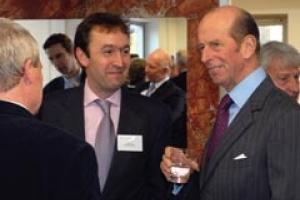 Burslem Managing Director David Hall (left) with the Duke of Kent at the opening of Burslem's new premises in Frant, Sussex.