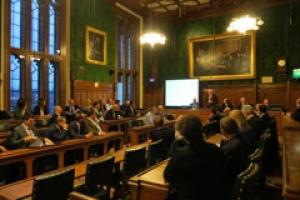 Mike Dewar, Director of One, the agency that manages the MAB campaign, addressing the meeting in a Committee Room in the Houses of Parliament.