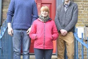 Emma Teale with this year's other two William Morris Craft Fellows outside SPAB's offices in London.