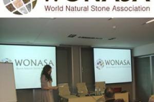 The new logo of the World Natural Stone Association being unveiled in Verona.